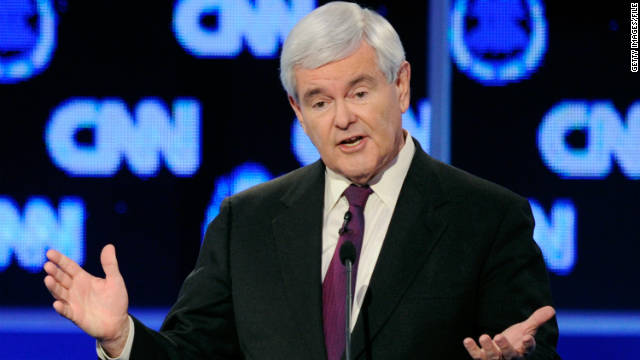 Former House Speaker Newt Gingrich speaks during a CNN Republican presidential debate October 18 in Las Vegas, Nevada.