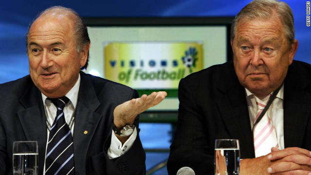 Blatter faced a criminal investigation after winning the 2002 FIFA presidential election, being accused of financial mismanagement by 11 former members of the ruling body's executive committee, including his 1998 election rival Lennart Johansson, left. However, prosecutors dropped the case due to a lack of evidence.