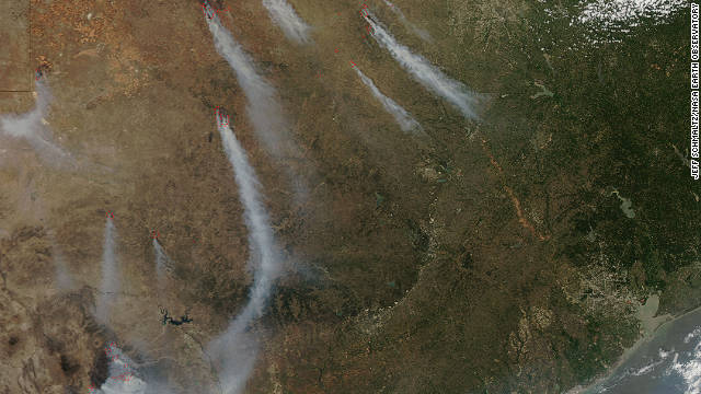 """We're actually seeing Texas <a href='http://edition.cnn.com/2011/US/04/20/texas.fires/index.html'>burn from border to border.</a>.."" Texas Forest Service spokesperson April Saginor said. More than a million acres were burned in just over two weeks during April, according to the Forest Service. Strong winds, warm temperatures, dry vegetation, and low humidity also contributed to hazardous fire conditions, according to NASA."