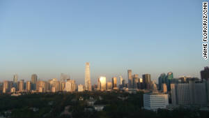 This photo, taken from CNN\'s Beijing Bureau in September, shows the city on a blue sky day.