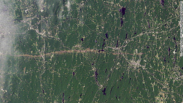 The thin horizontal strip of brown snaking across this NASA satellite image is the trail of destruction caused by a <a href='http://earthobservatory.nasa.gov/IOTD/view.php?id=50854' target='_blank'>tornado on June 1</a> as it tore across southwest and south-central Massachusetts. It continued for 39 miles (63 kilometers), says NASA, and in some places measured half-a-mile in diameter. The WMO reports that it was one of the most active tornado seasons on record. 157 people lost their lives -- the deadliest in the U.S. since 1947 -- in <a href='http://edition.cnn.com/2011/OPINION/05/29/hunter.tornado.joplin/index.html'>Joplin, Missouri</a> in May.
