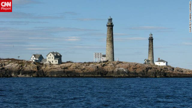"Karen Cornwell shared this photo of the Thatcher Island Lighthouses. ""I am a history buff and love lighthouses. I thought they just had a indescribable rustic beauty."""