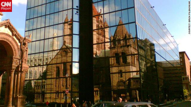 Girish Pilgaonkar took this photo of the Trinity Church reflection.