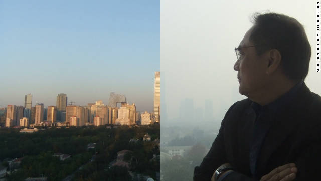 This photo shows two images of the view from CNN's Beijing Bureau, one from a blue sky day and one from a polluted day.