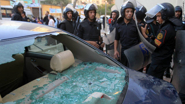 Egyptian riot policemen take position in the area where Coptic Christians came under attack on November 17.