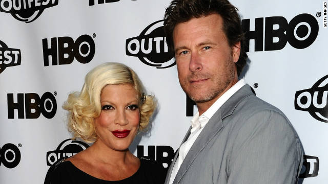 Tori Spelling and Dean McDermott got engaged in 2005 at a Christmas tree farm on Christmas Eve in his native Canada. The pair rode in a horse-drawn carriage down a half a mile lit up with lights leading to a table for two surrounded by decorated Christmas trees.