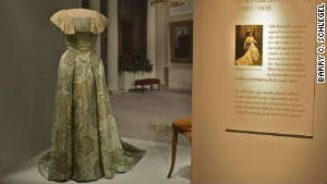 Edith Carow Roosevelt\'s dress. Videos and pictures of the first ladies wearing the gowns accompany the display.