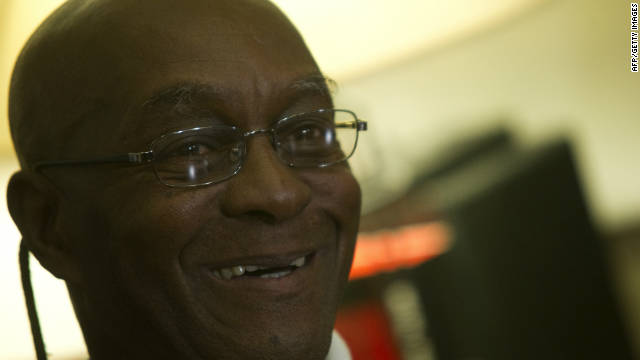 US fugitive George Wright smiles as he speaks to journalists at the office of his lawyer in Lisbon on November 17.