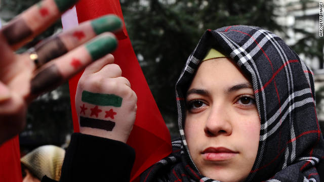 A Syrian woman living in Turkey protests against the government of Syria's President Bashar al-Assad on Friday.
