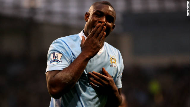 Micah Richards celebrates after scoring Manchester City's second goal against Newcastle United on Saturday.
