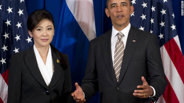 U.S. President Barack Obama speaks alongside Thailand Prime Minister Yingluck Shinawatra at the East Asia Summit on November 19.