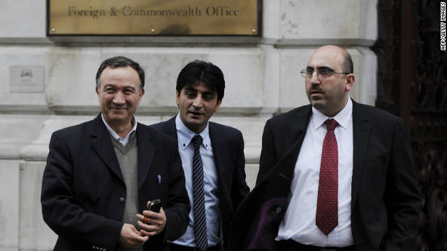 Representatives of the Syrian opposition pictured after meeting with British Foreign Secretary William Hague in London on November 21, 2011.