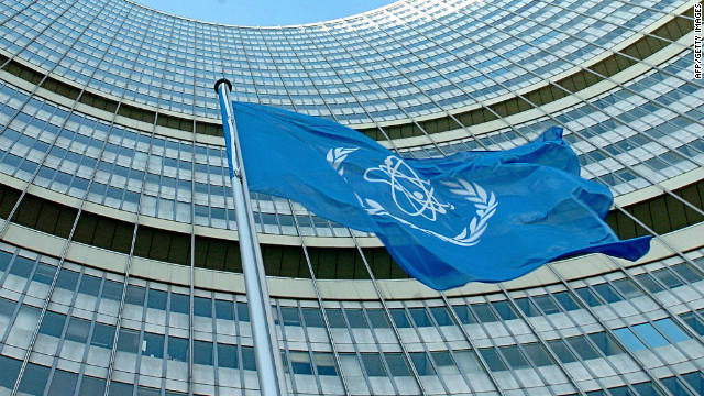 The IAEA flag flatters in the wind in front of the International Atomic Energy Agency headquarters in Vienna.