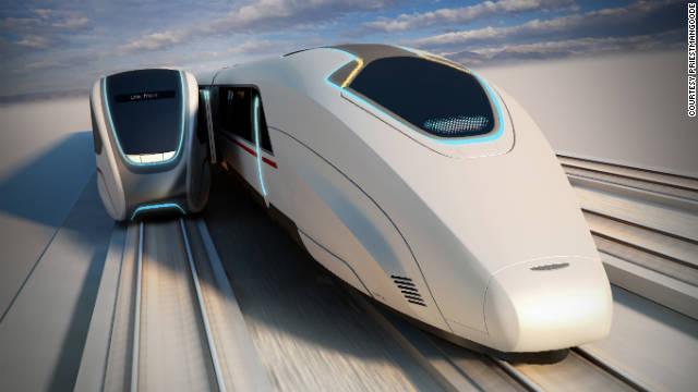 Pasajeros cruzando entre trenes en movimiento: ¿El transporte del futuro?