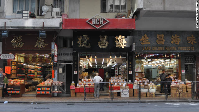 Almost all of the stores on this stretch of Des Voeux Road West in Hong Kong are dedicated to selling dried seafood products like shark fins and sea cucumbers.