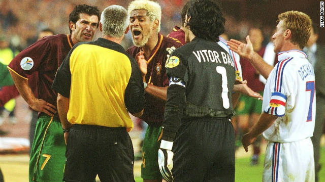 Austrian referee Gunter Benko awarded France a penalty after Portugal's bleach-blonde defender Abel Xavier had handled on the line in their Euro 2000 semifinal in Brussels. Zinedine Zidane stroked home the spot-kick with just six minutes left of extra time to put France through on the golden goal. Portugal were incensed with the decision and argued their case far too strongly for UEFA's liking. The chief culprit was Xavier himself who copped a six-month ban for his protestations.