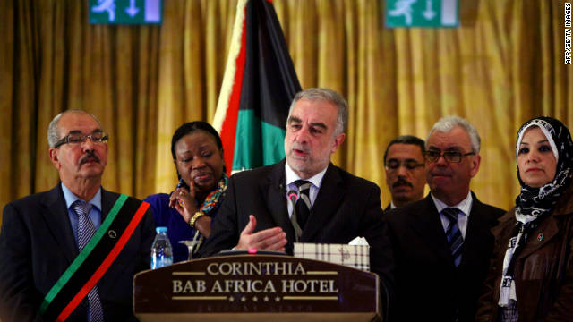 ICC prosecutor Luis Moreno-Ocampo gives a press conference in Tripoli on November 23, 2011.