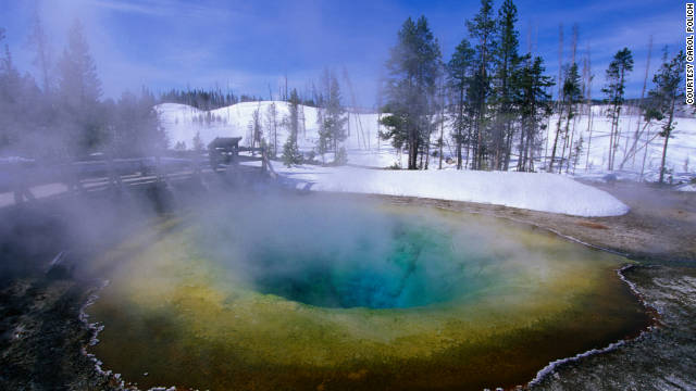 Yellowstone National Park is particularly enchanting during the winter.