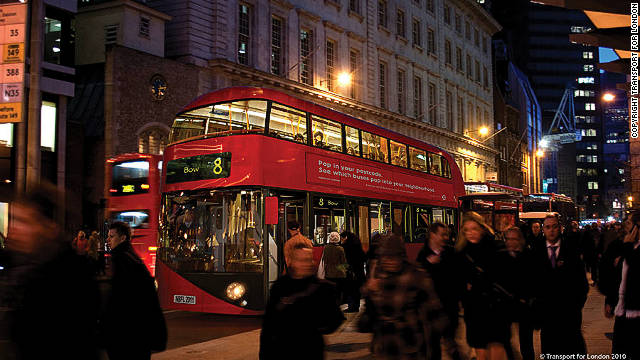 The new Routemaster bus has been designed by Thomas Heatherwick. This is an artist's impression of how it will look on the bustling streets of the UK capital.