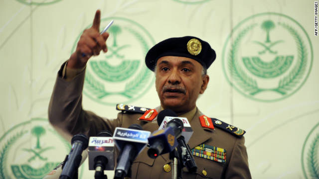 Saudi Interior Ministry spokesman Mansur al-Turki holds a news conference at the Saudi Officers club in Riyadh on November 24, 2011.