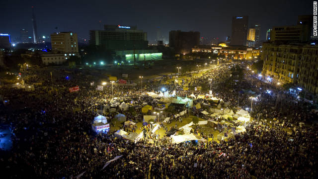 Demonstrators fill Tahrir Square on Thursday, November 24, after a sixth day of continued protests in Cairo. 