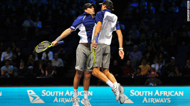 The Bryan brothers Mike, left, and Bob are top seeds in the doubles event. Here the Americans celebrate a group-stage victory with their trademark chest bump.