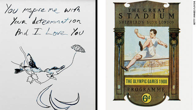 Acclaimed artist Tracey Emin's London 2012 poster (left), alongside the poster which was used when London first hosted the Games in 1908.