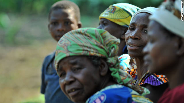 People gather in Kanguli village in southeast Democratic Republic of Congo in July.