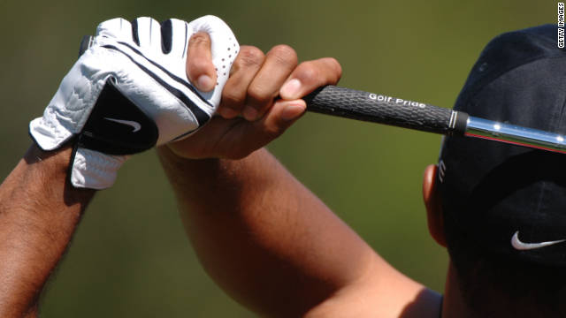 """The grip is one of the most important aspects of the swing. Most people grip the club too much in the palm of the hand, which creates tremendous tension and doesn't allow the wrist to work correctly,"" says golf coach David Leadbetter. ""People who do this wear a hole in their glove. It's important to hold the club out towards the fingers, not the palm. It helps more golfers than you can believe."""
