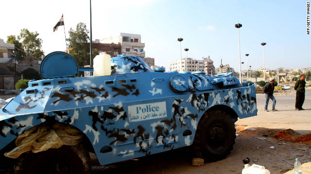 A Syrian police armored vehicle stands in the center of the flashpoint city of Homs on November 24, 2011.