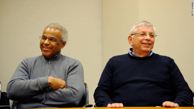Billy Hunter, former executive director of the National Basketball Players Association (left) and NBA Commissioner David Stern were all smiles on Saturday after they announced a tentative deal to end the NBA lockout.