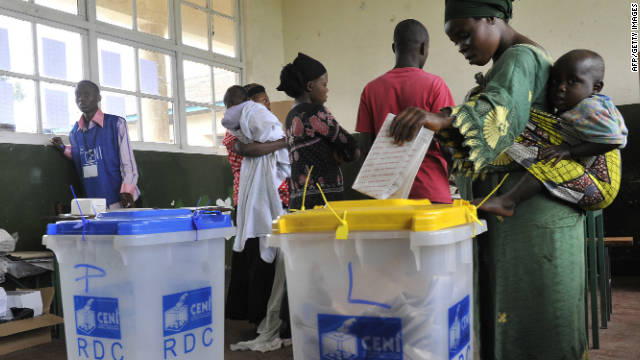A Congolese woman casts her ballot in Goma during presidential and legislative elections on November 28, 2011.