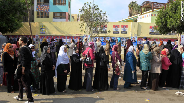 Egyptian voters line up at a polling station in Cairo on Monday.
