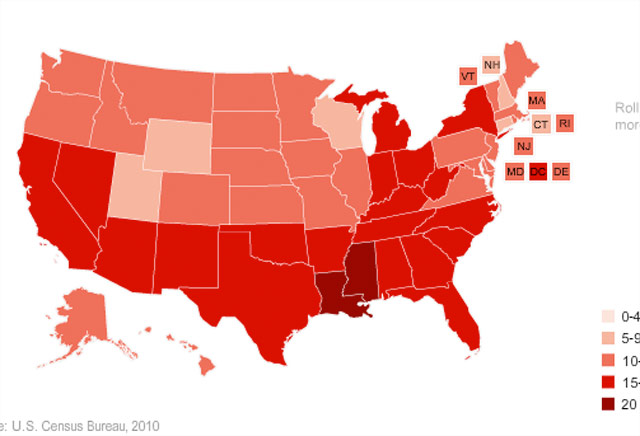 Map: Poverty rates, state by state