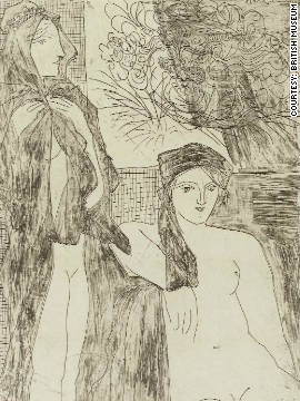 "The collection is made up of 100 etchings, such as this one, entitled ""Rembrandt and Two Women"" commissioned by art collector Ambroise Vollard, and created by Picasso between 1930 and 1937."