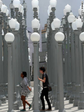 'Urban Light', 202 cast-iron streetlamps restored by LA artist Chris Burden, in front of the LACMA museum in Los Angeles.