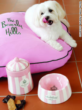 The people aren't the only pampered guests at the Beverly Hills Hotel. Pooches are treated to personalized pillows and dishes and special bone-shaped biscuits.