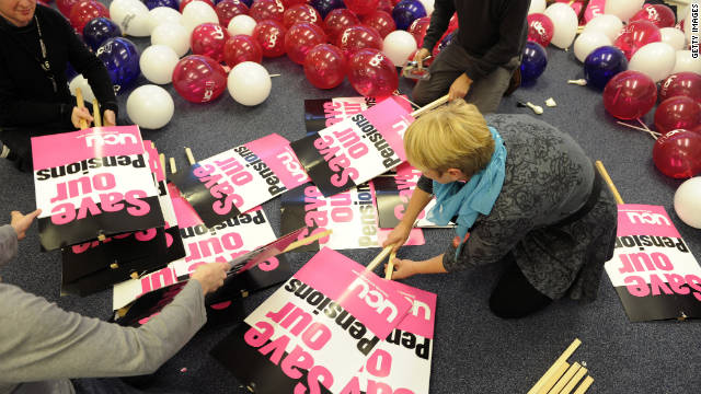 Activists prepare in London for Wednesday's public sector strike, billed as the largest in decades, over huge budget cuts.