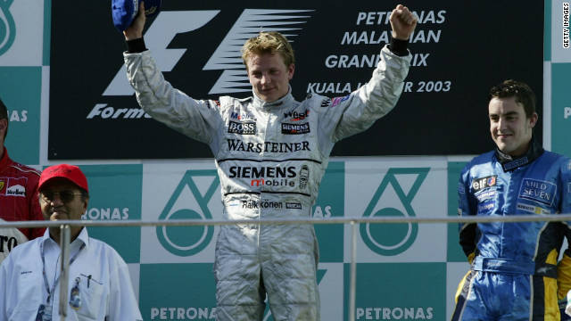 The Finn moved to McLaren in 2002, clinching his first grand prix victory in Malaysia during the 2003 season. Raikkonen would eventually finish the year second in the drivers' standings behind the legendary Michael Schumacher.