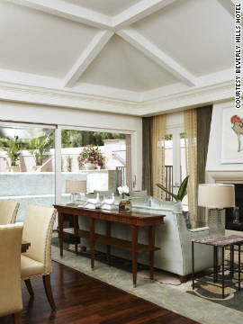 The interior of one of the Beverly Hills Hotel's new presidential bungalows. For $15,000 a night, you get high ceilings, five fireplaces, a private pool and outdoor showers.