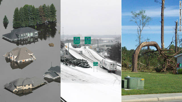 From tornadoes to flooding to paralyzing ice storms, the United States was severely affected by 12 natural disasters in 2011 that cost more than $1 billion each and claimed hundreds of lives, according to the &lt;a href='http://www.noaanews.noaa.gov/stories2011/20111207_novusstats.html' target='_blank'&gt;National Oceanic and Atmospheric Administration&lt;/a&gt;.