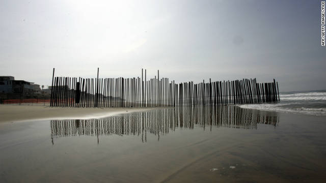 A section of the wall at the U.S.-Mexico border at Imperial Beach, California.