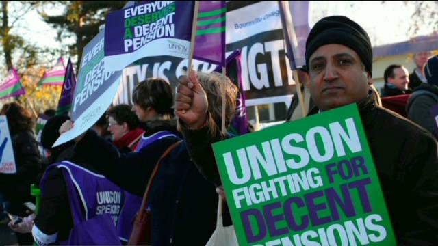 Dos millones de trabajadores británicos en huelga por la reforma de pensiones