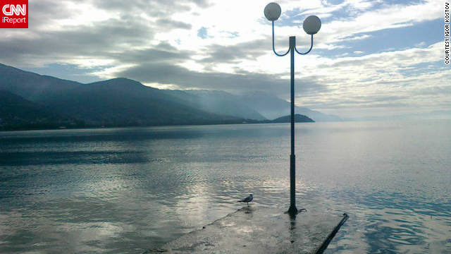"""This picture of Lake Ohrid, a UNESCO World Heritage Center, was taken by Macedonian Igor Kostov. He says climate change has affected his country. """"There (are) lot of problems with lack of rain, but pollution, forest degradation, no control of city building, disappoint me,"""" he adds."""