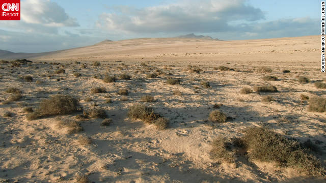 """Markku Rainer Peltonen took this photo of Fuerteventura. He says climate change threatens the island's desert and semi-deserts, and adds: """"Fuerteventura's ecosystem is sensitive because of erosion, too. The island's fast-growing tourism may also leave negative traces with regards to its unique landscape, fauna and flora."""""""