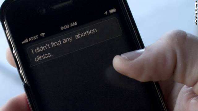 When asked, iPhone 4S virtual assistant Siri isn't able to find abortion clinics. Apple says the omission wasn't intentional.