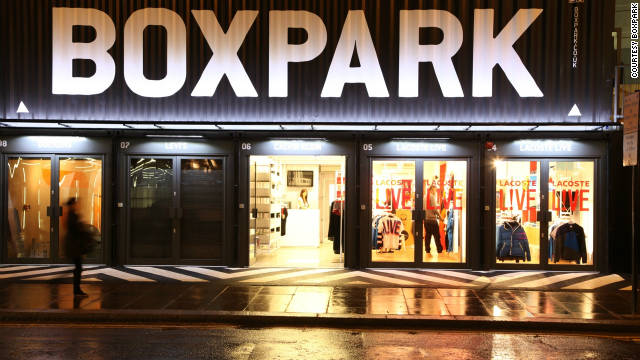 """Built entirely from recycled shipping containers, the """"Boxpark"""" retail hub in London claims to be the first pop-up shopping mall in the world."""