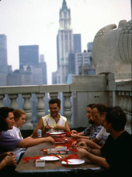Ribbon Bees preparing ribbons in New York City in 1991.
