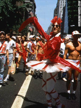 A member of The Ribbon Cavalcade poses in New York City in 1991.