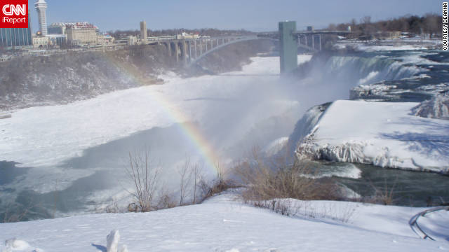 "Deanna Rodrigues took this image of Niagara Falls in the winter. She says: ""Global warming is causing climatic changes in the region,"" adding that spring has been arriving earlier than usual, summers are getting warmer and winters more severe."